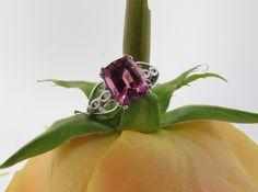 Elegant open filigree pink tourmaline ring custom designed by Vera's Fine Jewelers