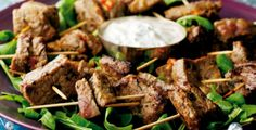 Steak and Sun-dried Tomato Cocktails with Basil and Greek Yogurt Dip