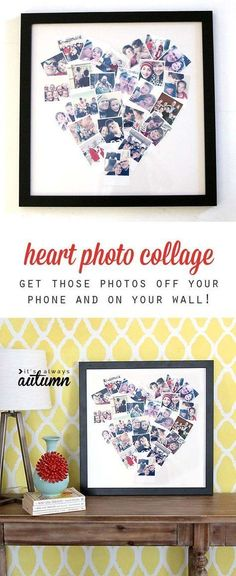 Cool DIY Photo Projects and Craft Ideas for Photos - Heart Photo Display - Easy Ideas for Wall Art, Collage and DIY Gifts for Friends. Wood, Cardboard, Canvas, Instagram Art and Frames. Creative Birthday Ideas and Home Decor for Adults, Teens and Tweens #artsandcraftsgifts, #easydiyprojectsforteens