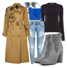 Catch up with your #NYFW crew over cold brew in modern takes on classic pieces complemented by cool-girl Fergie #booties. #coffeedate #studdedboots (Fergie Footwear: Pewter Fabric SPARROW Booties by jennmelby on Polyvore featuring River Island trench coat, Nico Giani bucket bag and Quay aviators)