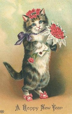 Vintage New Year Card - Cat & Flowers Happy New Year Greetings, New Year Greeting Cards, New Year Card, Vintage Greeting Cards, Vintage Christmas Cards, Vintage Holiday, Birthday Greetings, Vintage Happy New Year, Animal Gato