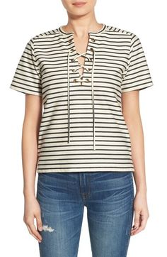 madewell stripe lace-up tee