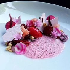 Raspberry, beetroot, rose & hazelnut. ✅ Beautiful dessert by @pastryaandepoel ✅  #ChefsOfInstagram  www.ChefsOF.com