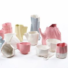 Israeli designer Rachel Boxnboim has cast a ceramic tea service inside fabric moulds. Called Alice, the pieces retain the texture and seams of the fabric from which they were formed.