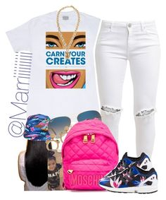 """""""Im Back Loves"""" by trill-forlife ❤ liked on Polyvore featuring Mishka, FiveUnits, Ray-Ban, Moschino and adidas Originals"""