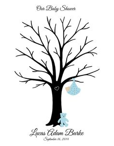 Baby Shower Thumbprint Tree Guest Book Teddy by WillowTreeArtworks, $31.95