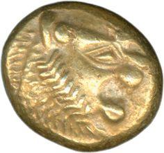 "Lydia: Alyattes 610-561, electron Drittelstater, Bardes lion's head to the right, reverse zweiquadrat. Incusa. 4.7 g Weidauer 86. ""eldest coin the world""! Very fine    Dealer  Schwanke GmbH    Auction  Minimum Bid:  500.00EUR"