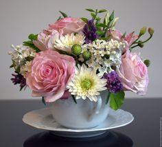 Купить Ароматная чаша № 2 - Холодный фарфор, композиция в чашке, тамара иванова