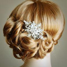 ZEPHRINE, Wedding Hair Comb, Vintage Inspired Rhinestone and Pearl Bridal Hair Comb, Wedding Bridal Hair Accessories, Old Hollywood Style. $72.00, via Etsy.
