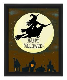 Look at this Witch & Moon Silhouette 'Happy Halloween' Framed Giclee Print on #zulily today!