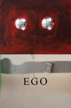 """""""Ego""""2008Reflections SeriesAcrylic, Collage and Mirror on Canvas, Mirror, Sticker70x35 cm  #art #artist #contemporary #contemporaryart #contemporaryartist #ismetdogan"""