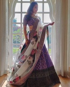 Pin by Simmi Dhillon on Indian outfits in 2020 Indian Lehenga, Indian Gowns, Red Lehenga, Indian Attire, Bridal Lehenga, Indian Wear, Anarkali, Purple Lehnga, Indian Bridal Outfits