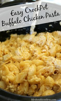 Easy CrockPot Buffalo Chicken Pasta. If Buffalo wings and Mac N Cheese had a baby, this delicious and creamy meal would be it. {lifeshouldcostless.com}