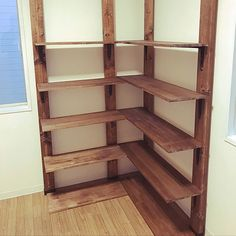 Pin on クローゼット Utility Shelves, Kitchen Organization Pantry, Office Furniture, Wood Projects, Kitchen Decor, Bookcase, Woodworking, Closet, Interior