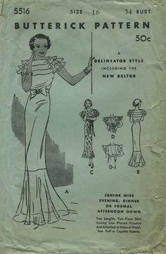 Vintage Sewing Pattern   Butterick 5516   Year 193?   Bust 34   Waist 28   Hip 37