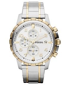 Fossil Watch, Men's Chronograph Dean Two-Tone Stainless Steel Bracelet 45mm FS4795 - Men's Watches - Jewelry & Watches - Macy's