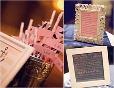 DIY wedding signs and straw flags.
