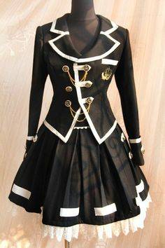 School uniform style black lolita jacket and skirt set, front chest is decorated by bold bronze color buttons and golden line. The lolita clothes is tailored by wool with lace. Kawaii Fashion, Lolita Fashion, Cute Fashion, Look Fashion, Fashion Design, Harajuku Fashion, Gothic Fashion, Fashion Women, Cosplay Outfits