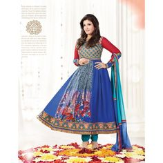 Bollywood Raveena Tandon Embroidery Designer Long Anarkali Suit - Online Shopping for Salwar Suit by Viva N Diva