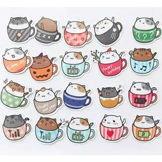 20pcs Cat in Cup Stickers Cat Sticker Pack Scrapbooking Planner... (€1,07) ❤ liked on Polyvore featuring home, home decor, office accessories, happiness planner, colored stickers, cat stickers, kitty cup and cat cup