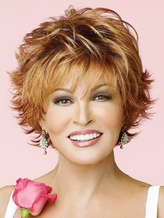 Fluffy Short Side Bang Gold Wave Fashion Heat Resistant Synthetic Wig For Women