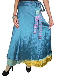 Magic Wraparound Skirt Blue Vintage Silk Sari Long Skirt Wrap Dress for Women Mogul Interior http://www.amazon.com/dp/B00ORG6X40/ref=cm_sw_r_pi_dp_.f5rub1753TPV