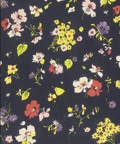Untitled Textile Design of Flowers | LACMA Collections : Elza Sunderland Textile Design Collections 1940's.