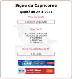 Tiercé pour le signe du Capricorne et pour les années du Lapin et du Cochon. Arrivée du Quinté 1 - 8 - 3 - 13 - 15 ce Jeudi 29/04/2021 dans le PRIX GASTON BRANERE à COMPIEGNE. Le Prix, Signs, Capricorn, Thursday, Rabbits, Shop Signs, Sign