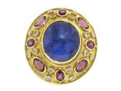 Elizabeth Gage Star Sapphire Ring in 18K Yellow Gold- Beladora Antique and Estate Jewelry
