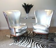 Amazing Vintage Chairs ~ Upholstered in Metallic Silver Leather