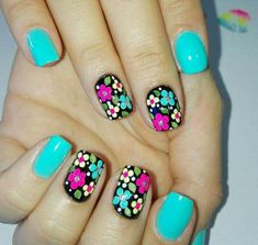 60 Spring Floral Nail Art Designs and Ideas Colors Dot Nail Art, Floral Nail Art, Nail Art Diy, Diy Nails, Manicure, Fingernail Designs, Nail Art Designs, Flower Nails, Creative Nails