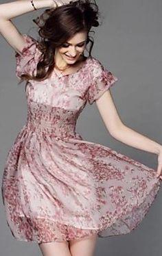 Print/Cute Micro-elastic Short Sleeve Maxi/Mini Dress