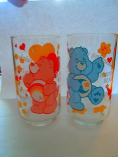2 Vintage Care Bear Drinking Glasses Bedtime Cheer Bear Characters Collectible | eBay