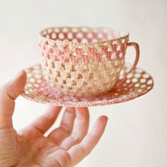 cuppa  vintage crochet cup and saucer by whichgoose on Etsy, $25.00