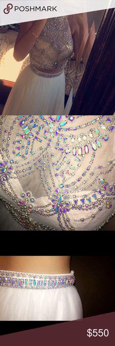 Sherri Hill Prom Dress - Size 6 Sherri Hill Size 6  Altered slightly smaller Worn once White with iridescent beading Sherri Hill Dresses Prom