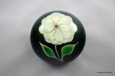 Lee Hudin 1978 White Flower on Green Iridescent Base Paperweight--(Pre-Ophir, Orient & Flume) by soflacollectors86 on Etsy, $275.00