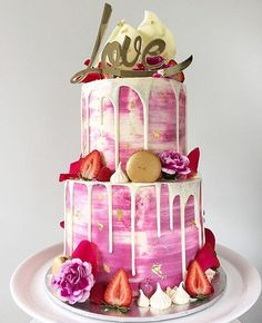 """Our gold mirror """"Love"""" cake topper looking lovely on top of this pretty pink… …"""