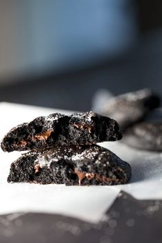 Bittersweet chocolate cookies, with black cocoa. Seriously amazing cookies with a very intense dark chocolate taste. Just like the kind they make at Rustica bakery. Please follow all of my Pinterest boards!