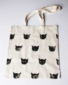 Hand Painted Cat Print Cotton Tote Bag with Studs