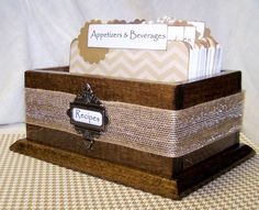 RECIPE BOX, Recipe Dividers, Recipe Cards, Burlap, Brown, Tan and White Chevron Stripe, Modern Rustic, Nuetral by peachykeenday on Etsy https://www.etsy.com/listing/155808499/recipe-box-recipe-dividers-recipe-cards