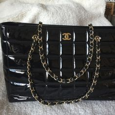 Authentic Chanel patent Black patent chanel tote in excellent condition. WILL BE AVAILABLE AUG 29. CHANEL Bags