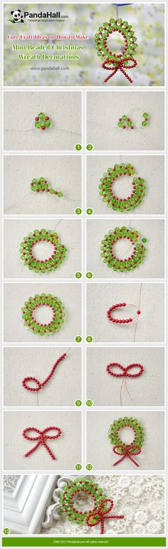 PandaHall Christmas Decoration-----Mini Beaded Christmas Wreath Decorations To make this beaded Christmas wreath decoration, I choose red and green as the main colors, which are the typical Christmas colors. At last, the red pearl beaded bowknot adds a touch of festival atmosphere as well. #PandaHall #decoration #diy #craft  #tutorial #jewelrymaking #Christmas #promotion #wreath