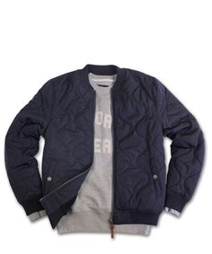 Uniform Generale Typhoon Quilted Bomber Jacket - Navy