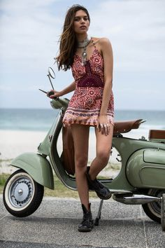 Hope Mini Dress in Apricot Dream by Arnhem Clothing. Digging that vespa too ;-)