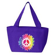 Rainbow Sunflower with Peace Sign Insulated Lunch Bag (Purple) Insulated Lunch Bags, Reusable Tote Bags, Purple Bags, Back To School, Rainbow, Peace, Sign, Rain Bow, Rainbows