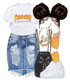 A fashion look from May 2017 featuring cotton shirts, denim skirt and lace up shoes. Browse and shop related looks. Swag Outfits For Girls, Boujee Outfits, Teenage Girl Outfits, Cute Casual Outfits, Teen Fashion Outfits, Teenager Outfits, Dope Outfits, Polyvore Outfits, Stylish Outfits