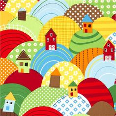country housel fabric with colourful hills Realizzato da Robert Kaufman 1