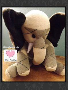 Handmade sock elephant: Rex  The original 100% by ChikiMonkeys