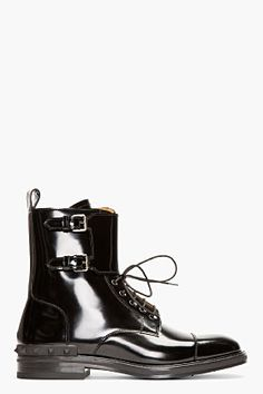 Valentino Black Patent Leather Buckled Stud Boots for men | SSENSE