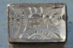 Antique 19th C. 925 Sterling Silver Hand Carved Rock Crystal Quartz Brooch